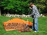 Расчесываем траву и за одно убираем листья